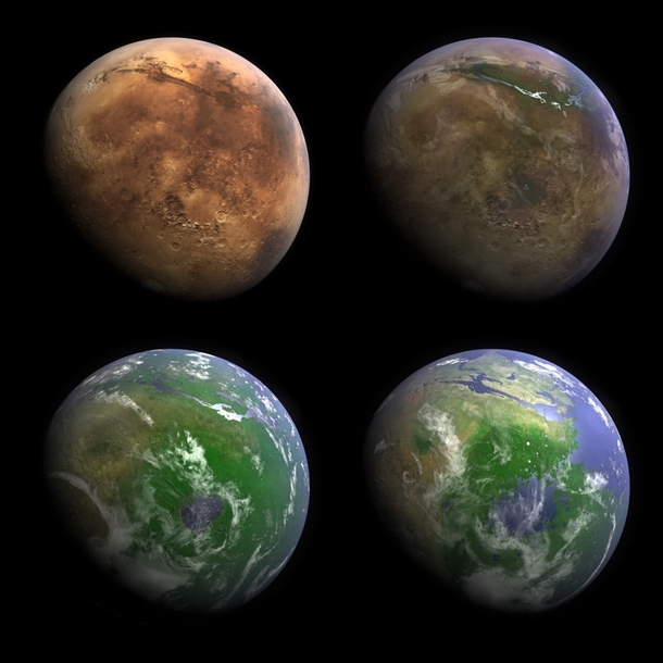 kevin gills visualization of mars with earth like oceans and life
