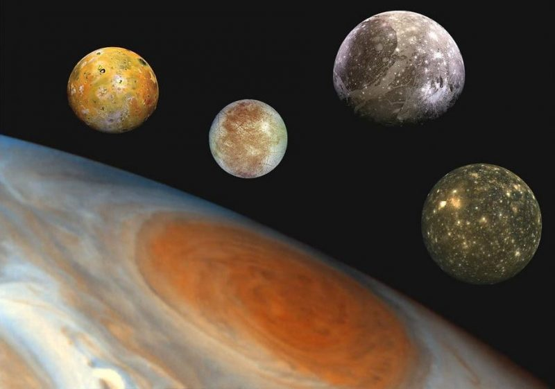 Jupiter and four Galilean moons x