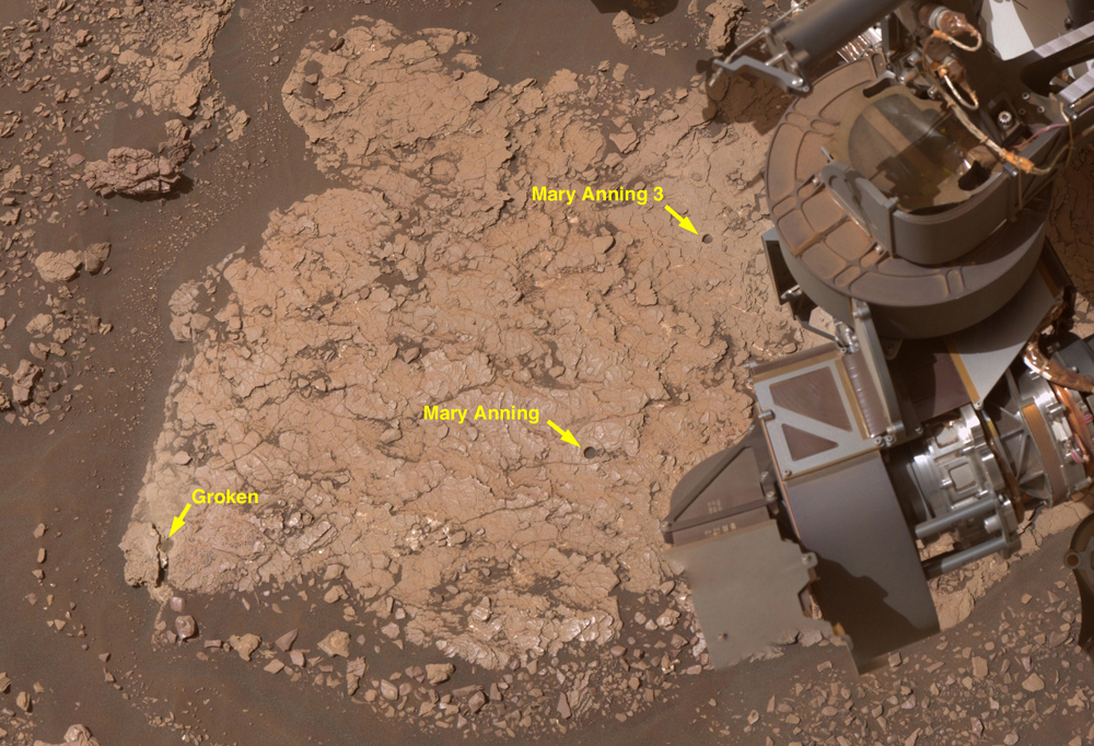 Close up shot of the three drill holes created by NASAs Curiosity Mars rover at Mary Anning