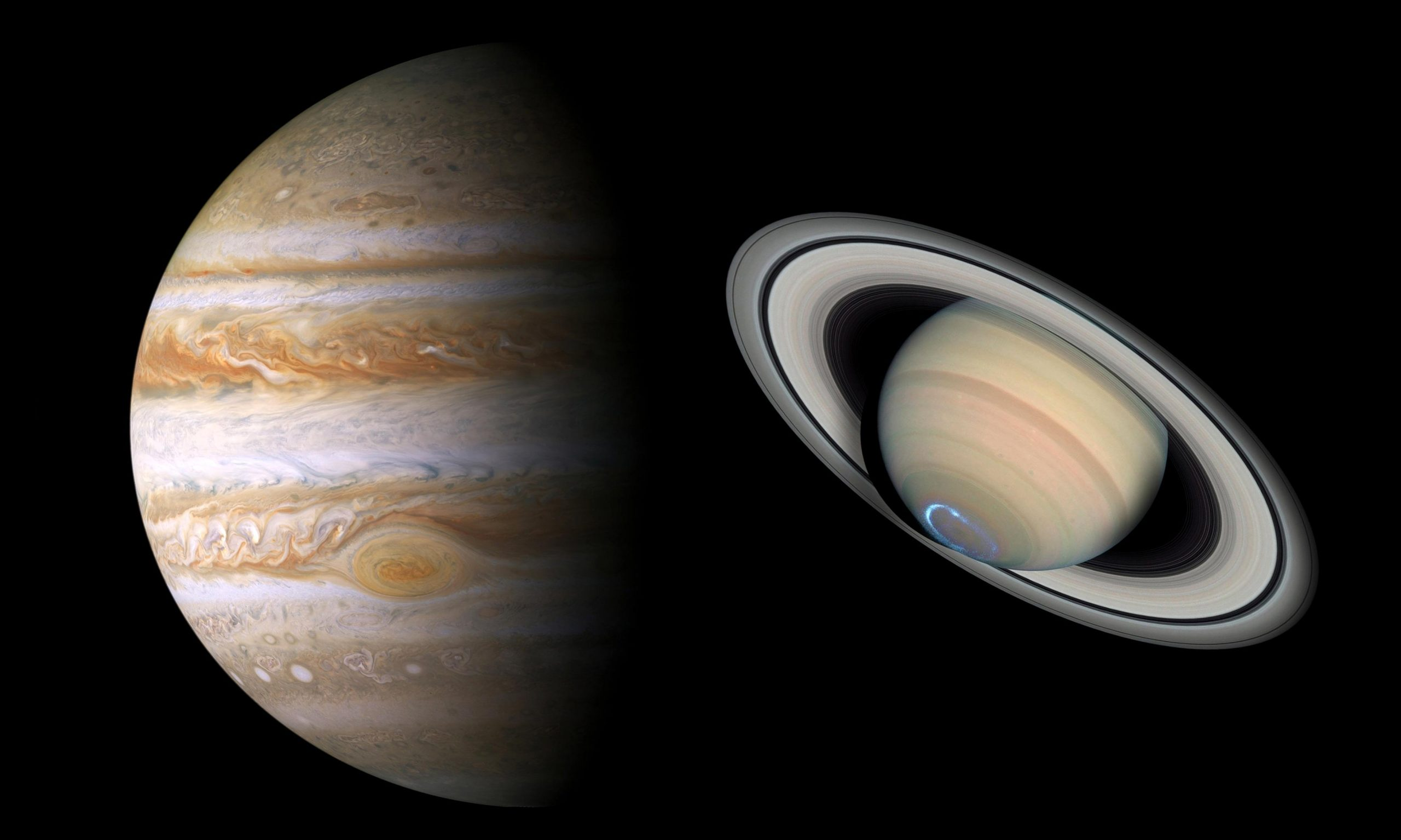 Jupiter and Saturn scaled