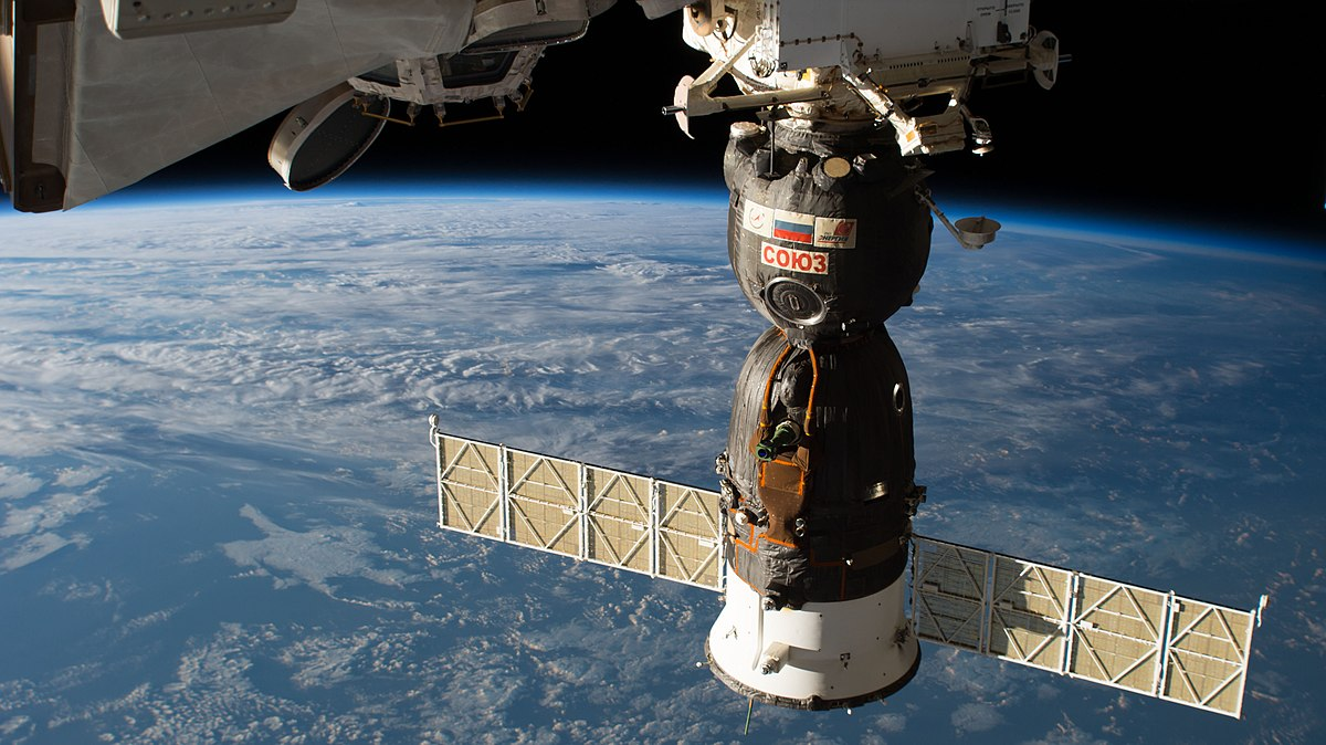 px The Soyuz MS spacecraft is pictured docked to the Rassvet module