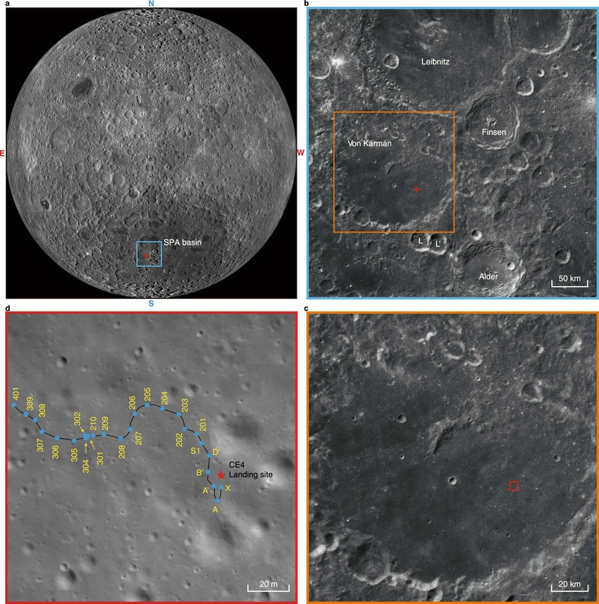 The location of ChangE landing site and the track of Yutu rover a The farside of