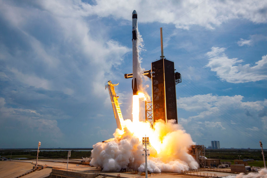science times spacex falcon rocket and crew dragon
